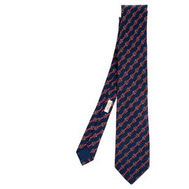 Hermès-Hermès silk tie printed on navy blue background in very good condition!-Navy blue