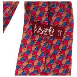 Hermès-Cravate Hermès en soie imprimée rouge & marron, en très bon état !-Rouge