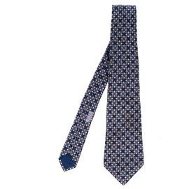 Hermès-Hermès tie in navy blue printed silk, In very good shape!-Navy blue