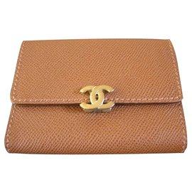 Chanel-Card holder Wallet-Light brown
