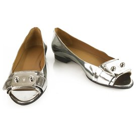Hermès-Hermès Silver Leather Hermes Open Flats with palladium plaques-Silvery