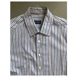 Massimo Dutti-chemise à rayures bleu blanc brun T. XL (43-44)-Marron,Blanc,Bleu