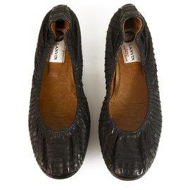 Lanvin-LANVIN Ballerines noires en peau de serpent noires avec des finitions élastiquées 36-Noir