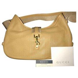 Gucci-Gucci Jackie Sac à bandoulière en cuir perforé-Beige