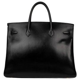 Hermès-Exceptional Hermès Birkin 40 black box leather, gold plated hardware, in excellent vintage condition!-Black