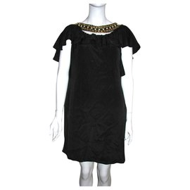 Temperley London-Embellished silk dress-Black,Golden
