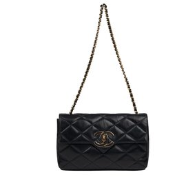 Chanel-Classic vintage Chanel bag in navy quilted lambskin!-Navy blue