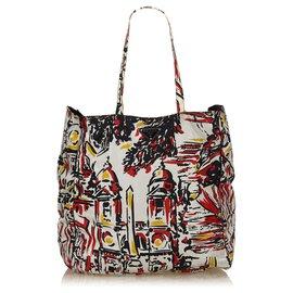 Prada-Prada canvas shopping bag with village decor-Black,White,Red,Yellow