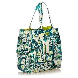 Prada-Prada canvas shopping bag with village decor-Multiple colors