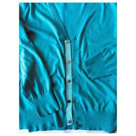 Acne-Gilet en coton-Turquoise