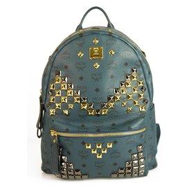 MCM-MCM Grand sac à dos monogramme 'Stark' Visetos bleu sarcelle clouté-Bleu