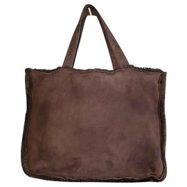 Chanel-Brown leather tote XL-Dark brown