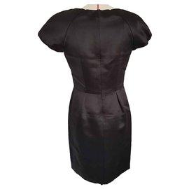 Chanel-Robe chanel en satin de soie-Noir