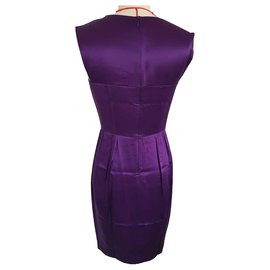 Yves Saint Laurent-Robe Yves Saint-Laurent en satin de soie-Violet