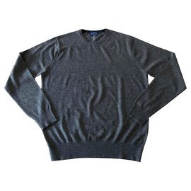 Autre Marque-Real Cashmere T dark gray heather sweater. 52-Dark grey