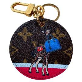 Louis Vuitton-Bijou de sac porte clé Monogram Girafe collection christmas 2017-Marron