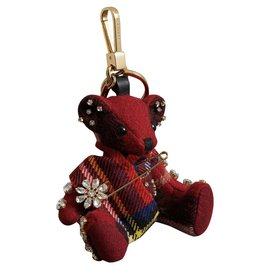 Burberry-BURBERRY, Key ring Thomas Bear with hairpin 100 % cachemire-Rouge