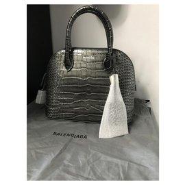 Balenciaga-balenciaga, BALENCIAGA VILLE S TOP HANDLE S  Petit sac en cuir de veau COCCO STAMP-Grey