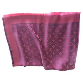 Louis Vuitton-lOUIS VUITTON FOULARD STOLA NEW FUXIA PINK-Rose