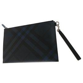 Burberry-Burberry, Pochette zippée à motif London check-Noir,Bleu