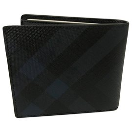 Burberry-BURBERRY ID flap wallet with London check pattern-Black,Blue