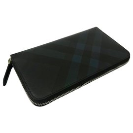 Burberry-BURBERRY, London check zipped wallet-Black,Blue