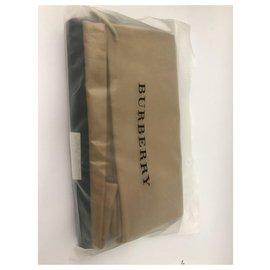 Burberry-Burberry, Portefeuille zippé à motif London check-Noir,Bleu