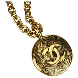 Chanel-Chanel Gold CC Pendant Necklace-Golden