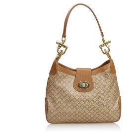 Céline-Celine Brown Macadam Shoulder Bag-Brown