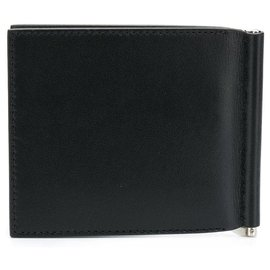 Givenchy-Givenchy Black Leather Bifold Clip Wallet-Black