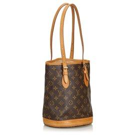 Louis Vuitton-Petit seau marron Louis Vuitton avec monogramme-Marron