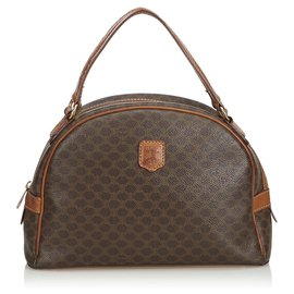 Céline-Celine Brown Macadam Handbag-Brown