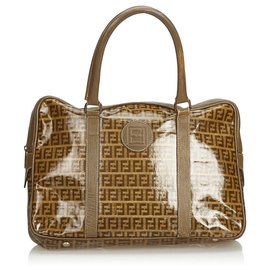 Fendi-Fendi Brown Zucchino Coated Canvas Briefcase-Brown