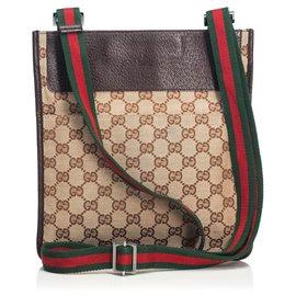 39e48bf49dc9 Gucci-Gucci Brown GG Web Jacquard Crossbody Bag-Brown