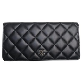 Chanel-CHANEL CLASSIC LAMB LEATHER CLASSIC PORTFOLIO .NEW !! NEVER SERVED !!!-Black