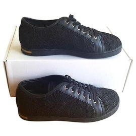 Dolce & Gabbana-black lace sneakers-Black