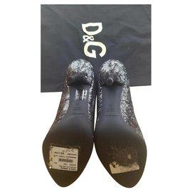 Dolce & Gabbana-The dark silver/black sequine mix heels-Black,Silvery