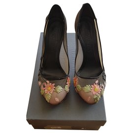 Alexander Mcqueen-Beautifull lace with flower heels-Beige,Other
