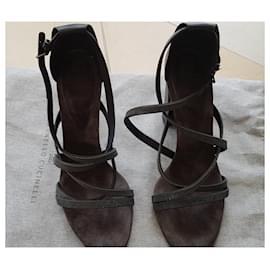 Brunello Cucinelli-sandals-Grey,Dark grey