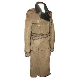 Roberto Cavalli-Trench-coat Roberto Cavalli en peau d'agneau-Kaki