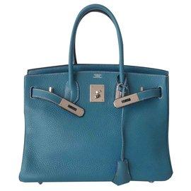 Hermès-HERMES BIRKIN BAG 30 blue jeans-Blue