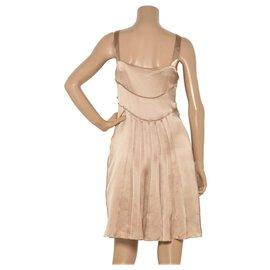 Alberta Ferretti-Robe en ruban de soie Alberta Ferretti-Beige
