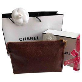 Chanel-CC Clutch-Dark red