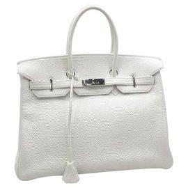 Hermès-HERMES BIRKIN 35 Clémence Blanche avec PHW-Blanc