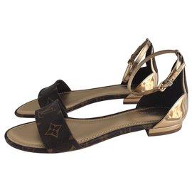 f60cf4cb21e8 Louis Vuitton-Louis Vuitton sunshine flat sandals-Brown ...