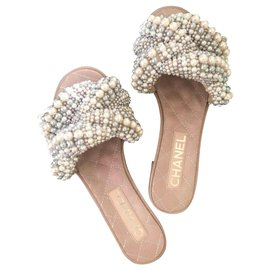 Chanel-Chanel Pearl Slides slippers sandals EU 35.5-Beige