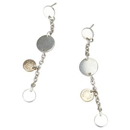 Hermès-Hermes Silver Two Tone Confettis Earrings-Silvery,Golden