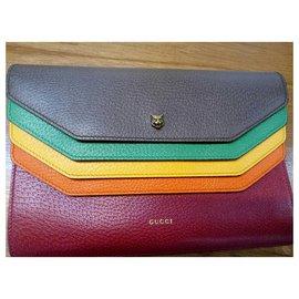 Gucci-Pochette Totem en cuir marron Gucci-Marron,Multicolore