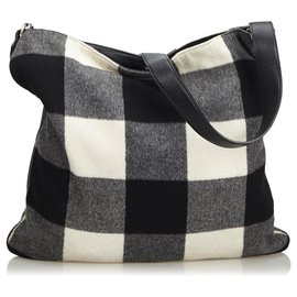 Céline-Celine Black Plaid Wool Shoulder Bag-Black,White