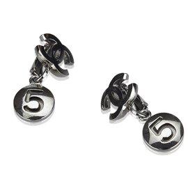 Chanel-Chanel Silver CC No. 5 Drop Earrings-Silvery